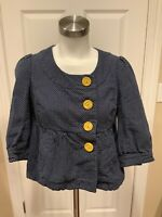 Ett Twa Anthropologie Blue Micro Polka-Dot Jacket, Size 8P