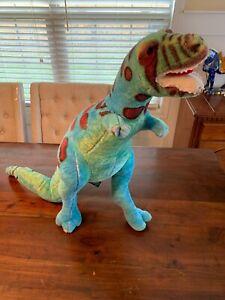 "Melissa & Doug Large 26"" T-Rex Dinosaur Plush Posable Blue Green Dino"