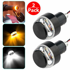 2 x Motorcycle LED Turn Signal Lights Indicator Blinker Handle Bar End Handlebar