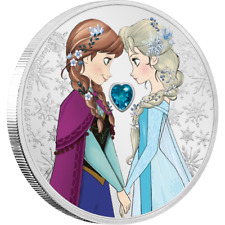 2020 Niue Disney Princess Frozen Anna & Elsa 1 oz Silver Coin w/Gem - 3,000 Made
