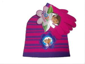 Nickelodeon Dora the Explorer Winter Beanie Hat and Gloves Set, size:Child