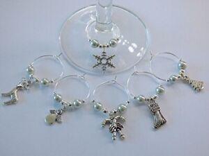 6  ASSORTED WINE GLASS CHARMS CHRISTMAS THEME TABLE DECORATIONS SECRET SANTA