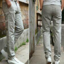 Summer Men Linen Elastic Straight Leg Casual Trouser Pants Thin Slim Basic Solid