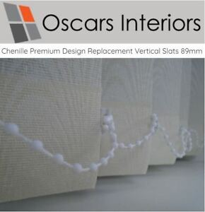 """Chenille Luxury Welded Made to Measure Replacement Vertical Blind Slats 5"""" 127mm"""