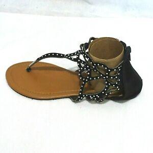 Chatties Thong Sandals Flats Jewel Studded Women Size 5 6 Zipper Black