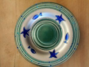 🐟 6 X Blue Glass SEA THEME Bread and Butter Plates