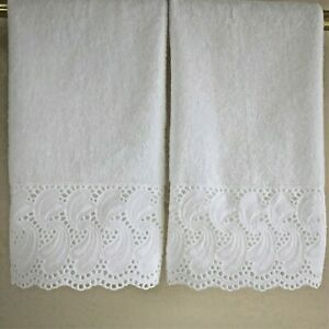 EYELET LACE Fingertip or Guest Towels (2) WHITE Cotton Velour NEW by UtaLace