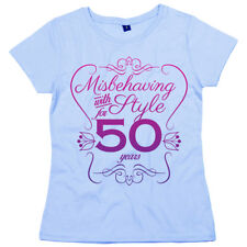 """50th Birthday T-Shirt """"Misbehaving with Style for 50 Years"""" Women's Ladies"""