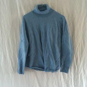 Wool & Cashmere Blend Blue Turtle-neck Jumper Grace Hill Size XL