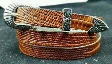 NEW BROWN HATBAND Genuine LIZARD Skin Silver Buckle Set Western Cowboy Hat Band