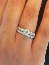 1.5 CT Engagement Bridal Ring Band Set Round Cut Solid14k Yellow Gold 3.1 grams