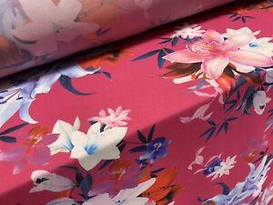 Printed Chiffon Woven Dress Fabric, Per Metre - Lily Flower Print - Cerise Blue