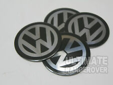 ALLOY WHEEL VW RS4 GOLF PASSAT POLO BEETLE DOMED CENTRE CAP BADGES 50mm 5cm