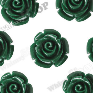 12mm Forest Green Rose Flower Beads Drilled Hole Beading Stringing on Necklace