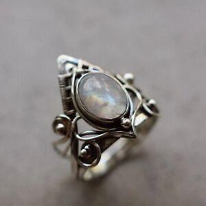 Romantic Moonstone Ring Women Jewelry 925 Silver Rings Women Jewelry Size 6-10