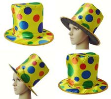 Funny Clown Top Hat Polka Dot Rainbow Circus Magician Cap Halloween Fancy Dress