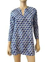 ROBERTA ROLLER RABBIT Blue and White Elephant Print Cotton Cover Up Top XS NEW