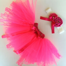 Deluxe Newborn Toddler Baby Girl Hot Pink Tutu Skirt Headband Photo Prop Outfit