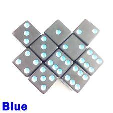 Opaque Gloss Dice Dot Dotted 10x 16mm D6 Black Blue Board Game Yahtzee Perudo