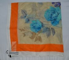 DOLCE & GABBANA BLUE ORANGE ROSES  PRINT 100% SILK  SCARF WRAP GIFT FOR HER ITAL