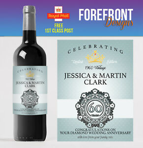 Personalised Wine bottle label 60th DIAMOND wedding anniversary/wedding gift
