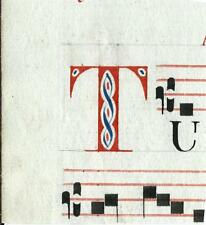 Manoscritto antico CAPOLETTERA T rosso e blu ANTIFONARIO MUSICA 1850 Drop Cap