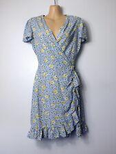PRIMARK powder blue & yellow vintage floral ruffle frill wrapover tea dress, 10