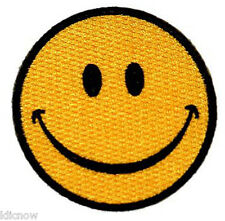 """SMILEY FACE EMBROIDERED PATCH  7CM Dia (2-3/4"""" Dia)"""