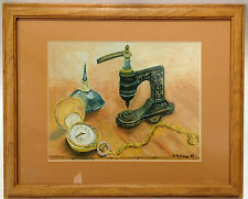 Johnnie's Watch Framed Art Print Painting Pastels? D. Delahar Signed Pocketwatch
