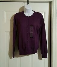 Central Park West New York Sequin/Beaded Cardigan Sweater Women Small Plum