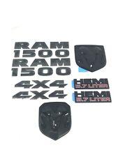 13-18 Ram 1500 Black Emblem Nameplate Badge Kit Factory Mopar 8 Pieces Black