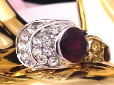 Vintage Cocktail Ring Garnet Glass Crystal Accents Art Deco Style Chic Size 9