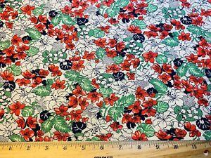 Vintage Cotton Feedsack Fabric PRETTY Red Green Dk Blue Floral EXC SAS