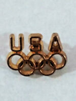 VINTAGE USA OLYMPIC GAMES PIN LAPEL HAT PIN GOLD TONE OLYMPIC RINGS ~ Ships FREE