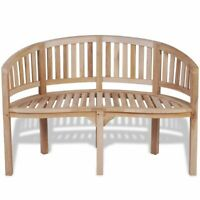 vidaXL Solid Teak Wood Bench Banana Shape 2-Seater Outdoor Garden Chair Seat
