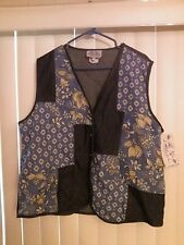 Ladies River Rige Trading Company Vest 1X Patchwork Blue 5 Button Down