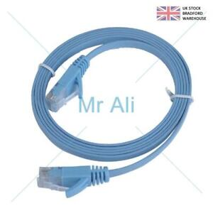 FLAT Blue 30m Ethernet CAT6 Network Cable Patch Lead RJ45 for Smart TV/PS4/Xbox