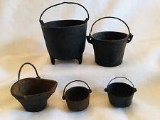 Vintage/Antique Salesman Sample/Miniature Cast Iron Pots, 5 Piece Lot