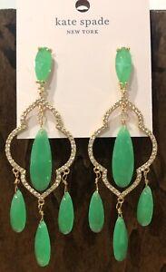 Kate Spade Lantern Gems Chandelier Drop Dangle Earrings Green New $99 + Dust Bag
