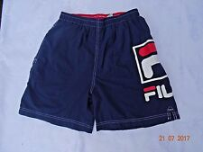 vintage navy blue FILA 100% nylon swim trunks mens size M/L spell out .
