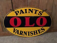 Vintage Porcelain Double Sided OLO Paints & Varnishes Hardware Store Sign
