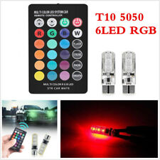2x Remote Control Car T10 5050 6LED RGB Silica Gel Interior Lamps Reading Light
