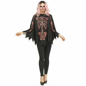 Womens Poncho Cape Glitter Rose Gold Skeleton Halloween Costume Accessory