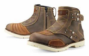Icon 1000 El Bajo Womens Motorcycle Boots Oiled Brown