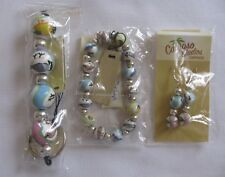 3Pc Beaded Earring Bracelet Keychain Set Summery Bird Print Motif Whimsical Nip