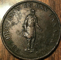 1837 LOWER CANADA HALFPENNY BANK TOKEN UN SOU - City bank ribbon