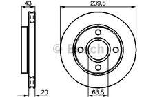 BOSCH Juego de 2 discos freno Antes 239,5mm ventilado FORD FIESTA 0 986 478 502