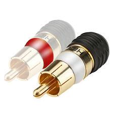 HICON Cinch Stecker 1 Stück weiß o rot RCA vergoldet lötfreie Montage | HI-CM-SM