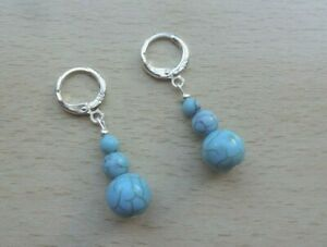 TURQUOISE  drop  EAR RINGS St Silver Gift wrapped