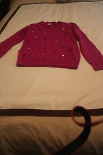 JCREW CREWCUTS GIRLS FUCHSIA WOOL RAINBOW JEWEL POPOVER SWEATER  FOURTEEN 14!!